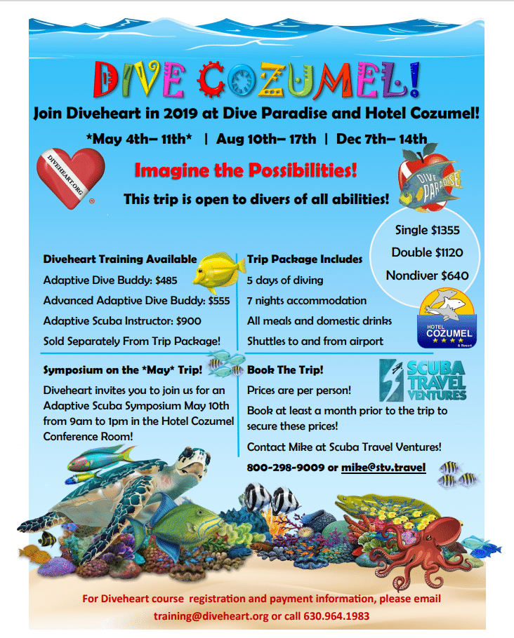 Diveheart's 2019 trips to Cozumel