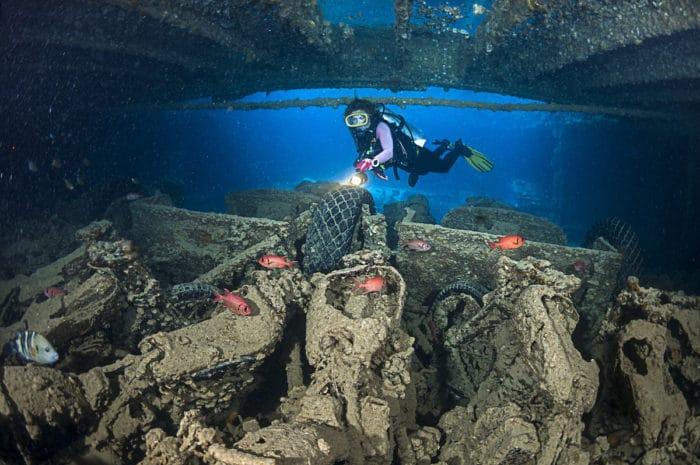 Diving inside a wreck