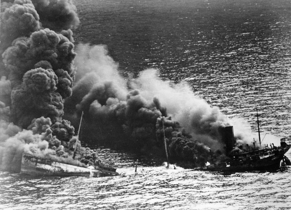 Dixie Arrow burning after being torpedoed by U-71. Photo: National Archives