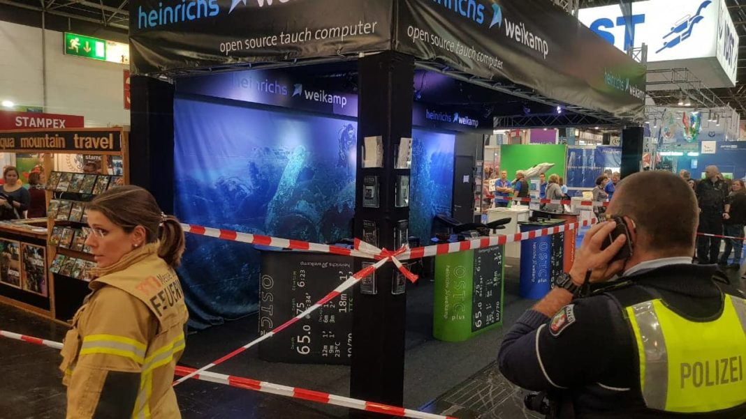Heinrichs Weikaamp booth after the incident at Boot Dusseldorf. Photo by Kaj Maney