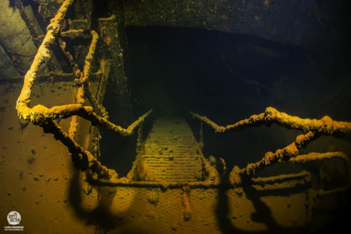 In the engine room of the Amagisan Maru, Truk Lagoon.