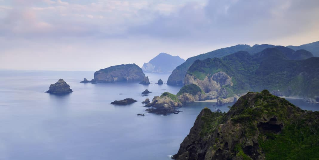 Long exposure of Izu Peninsula coastline in the morning, Shizuoka Prefecture, Japan