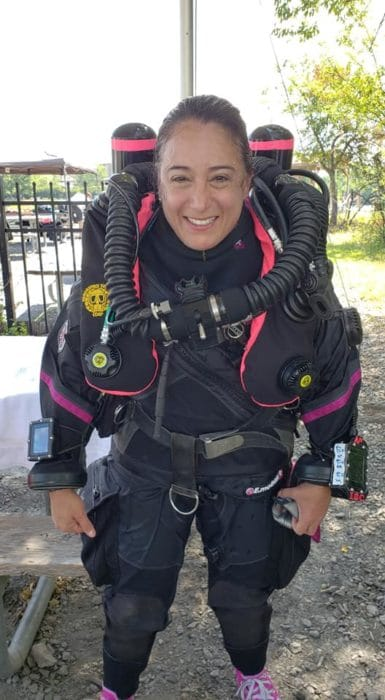 Renata advancing her skills in diving learning to use closed-circuit rebreather technology to explore wrecks deeper and longer.