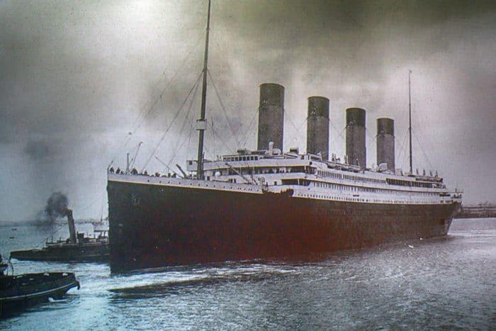 Titanic on an old photo, Belfast, Northern Ireland