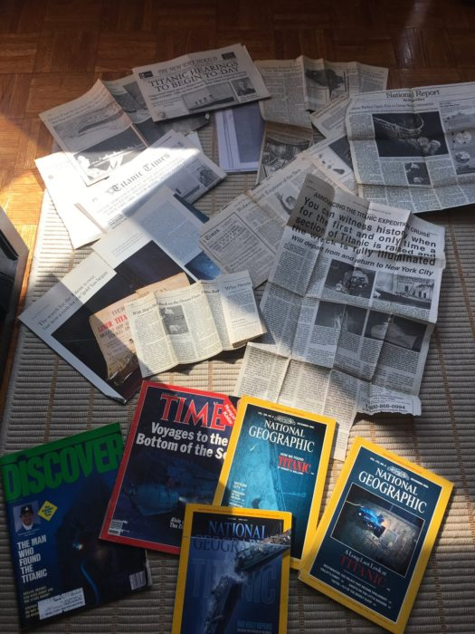 Renata has 100s of Magazine articles and books about Titanic in her New Jersey home.