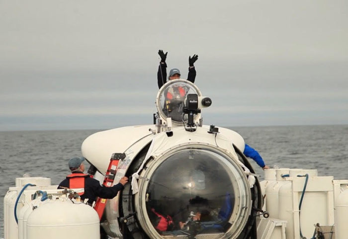 Renata boarding the Cyclops 1 during the Andrea Doria Survey Expedition in 2016. Photo by OceanGate