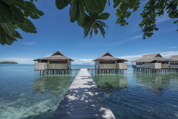 Traditional style overwater bungalows