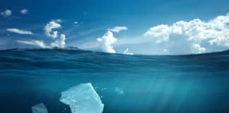 Plastic bag floating in the ocean, a bag in the water. The concept of environmental pollution, non-decomposable plastic, increased debris in the world's oceans.