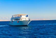 White yacht sailing in Red sea, Egypt