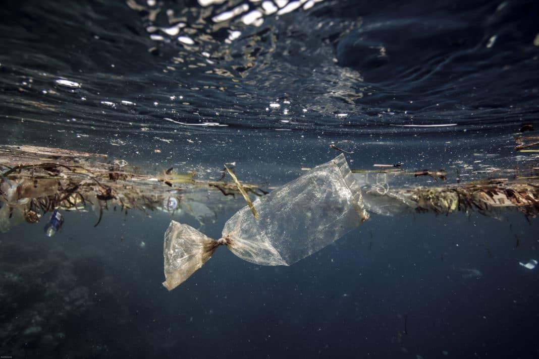 Plastic bag floating in ocean