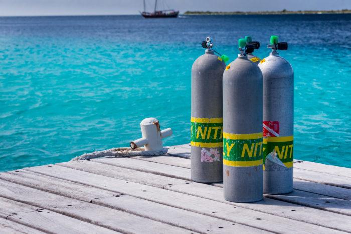 Nitrox Cylinders on a dock