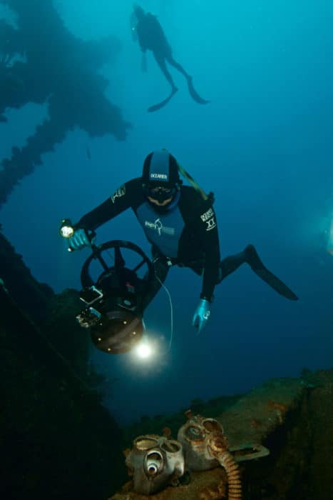 Freediving the Nippo Maru (photo by Kirk Krack)