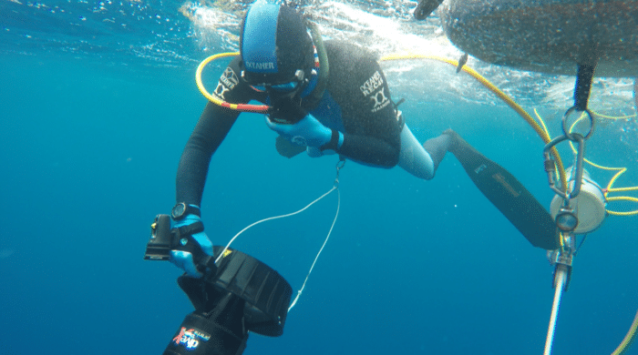 A PFI Diver breathing Nitrox prior to a dive