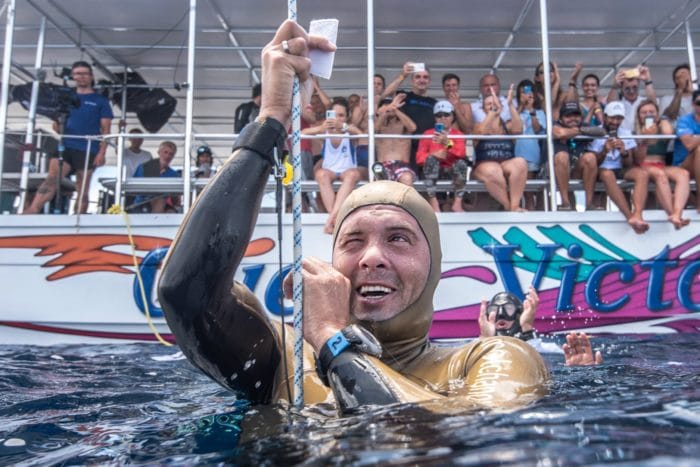 Alexey Molchanov after his 125m World Record dive