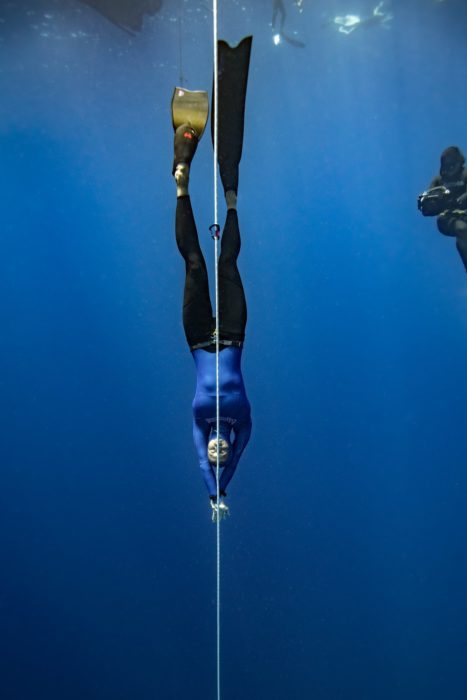 Nataliia Zharkova diving to 93m for her Constant Weight Bi-Fins CMAS World Record