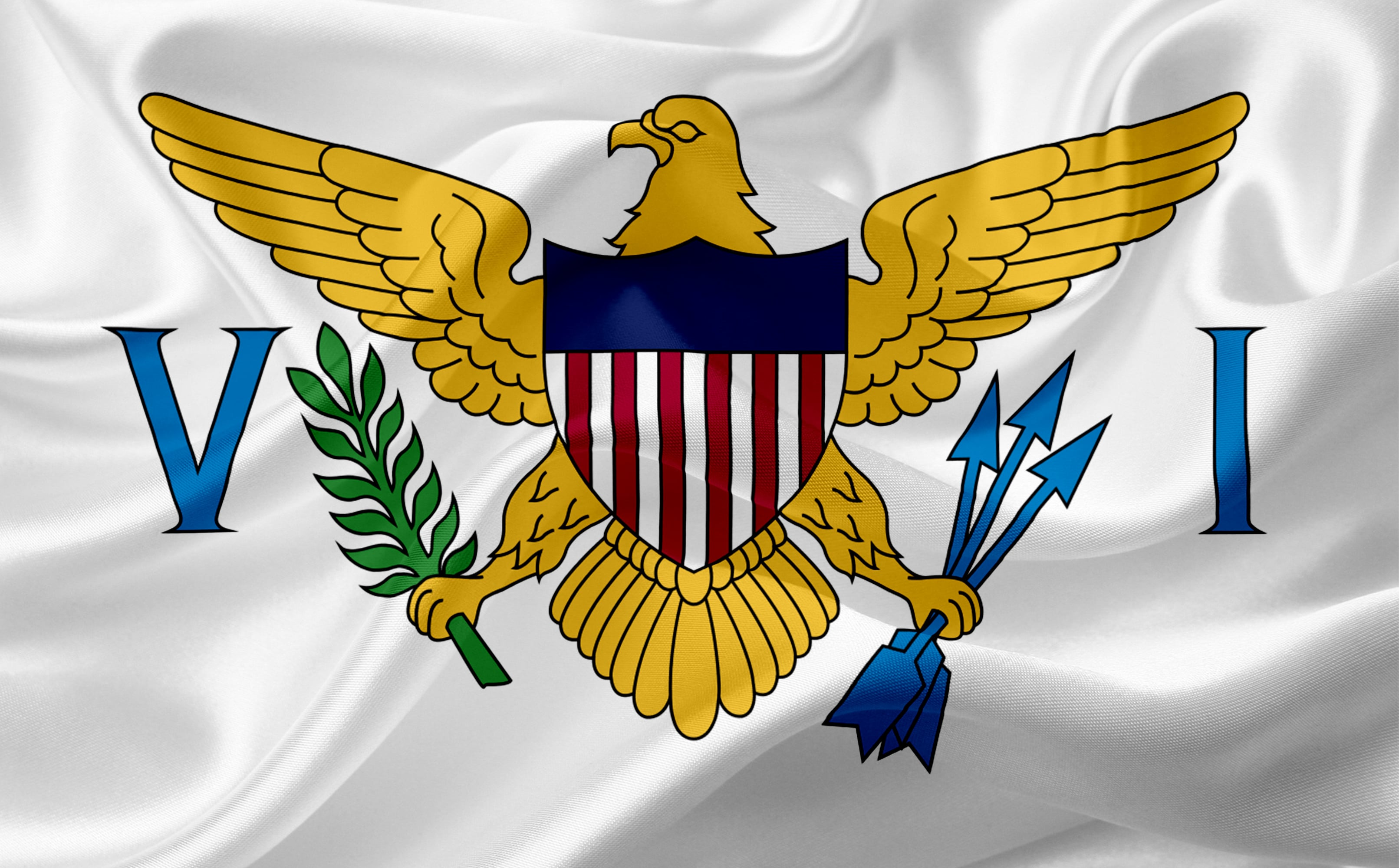 Flag of Virgin Islands, USA with waving fabric texture