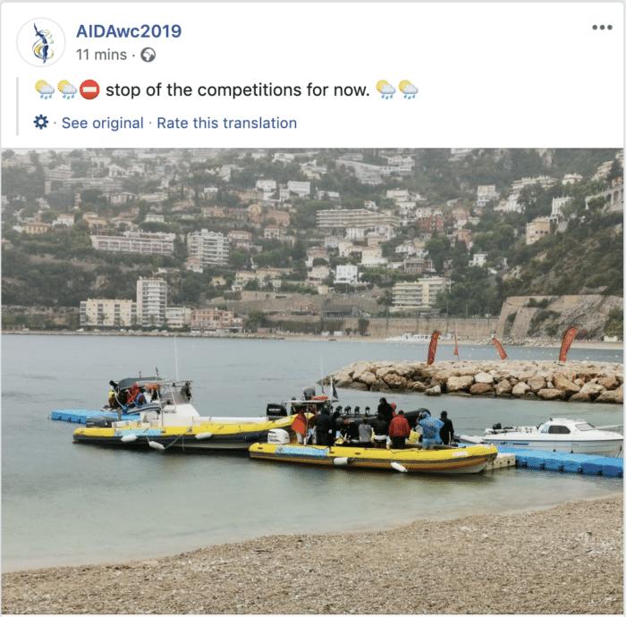 AIDA Depth World Championships Organizers Announce Cancellation On Social Media