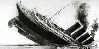 """Sinking of the ocean liner """"Lusitania"""" (sketch from the English newspaper, May 1915)"""