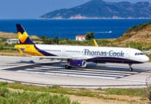 Thomas Cook Airbus A321 airplane at Skiathos airport (JSI) in Greece.