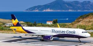 Thomas Cook Airbus A321 airplane at Skiathos airport (JSI) in Greece.