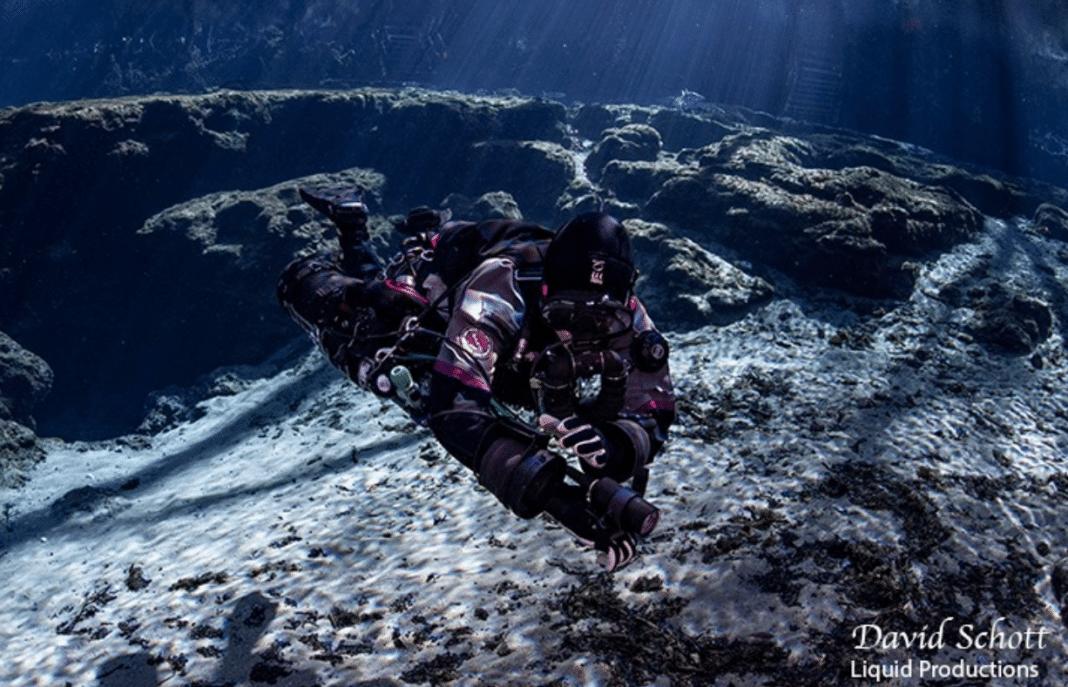 Becky Schott diving LIberty Rebreather Sidemount