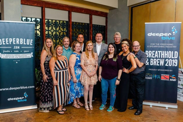 The DeeperBlue.com DEMA Team at the Breathhold & Brew Industry Party 2019