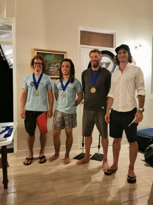The Caribbean division winners - L to R: Winkler, Magloire, Bohachevsky and event organizer Sunnex (photo by Sofia Gomez Uribe)
