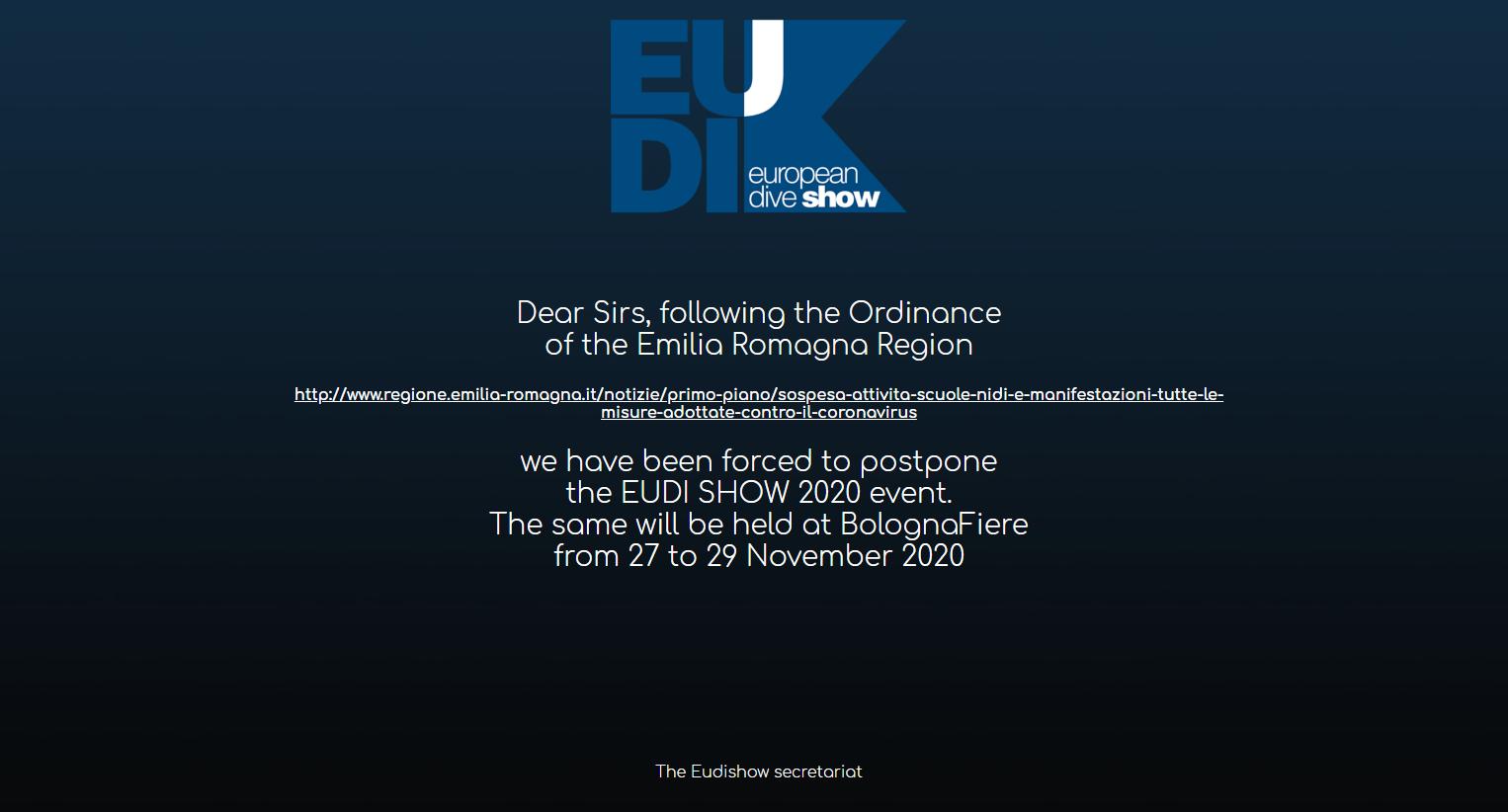 European Dive Show Postponed Due To Coronavirus Outbreak In Italy