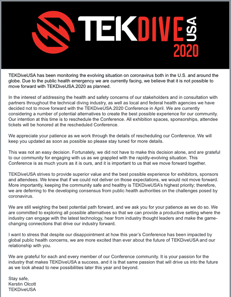 TEKDiveUSA 2020 Conference To Be Rescheduled Due To COVID-19