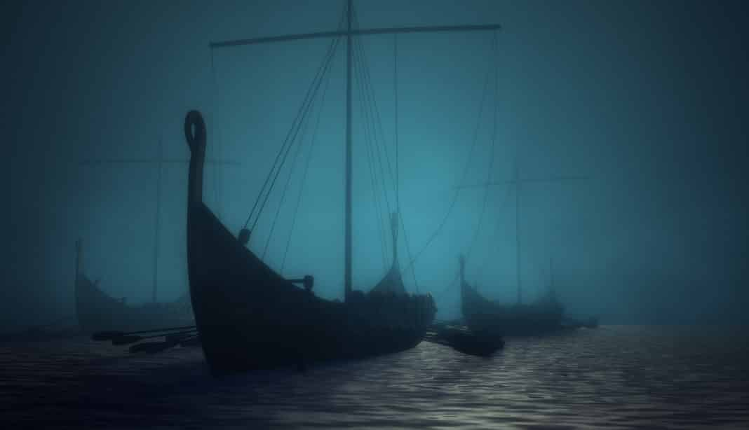 Vikings ships on the blue mysterious water.