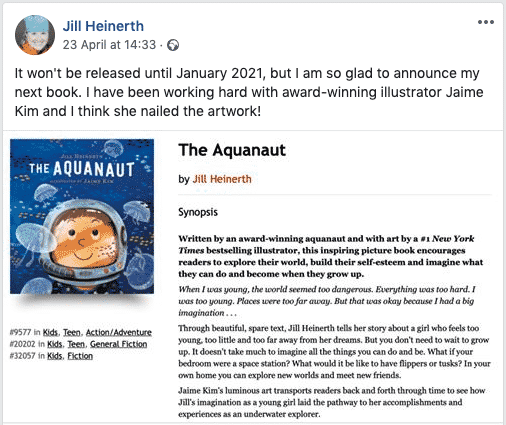 Facebook Post by Jill Heinerth announcing her new picture book