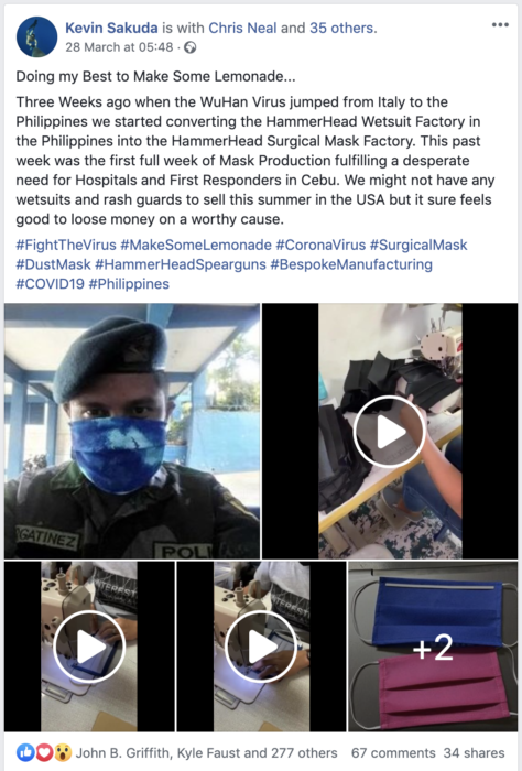 Kevin Saluda's Facebook Post