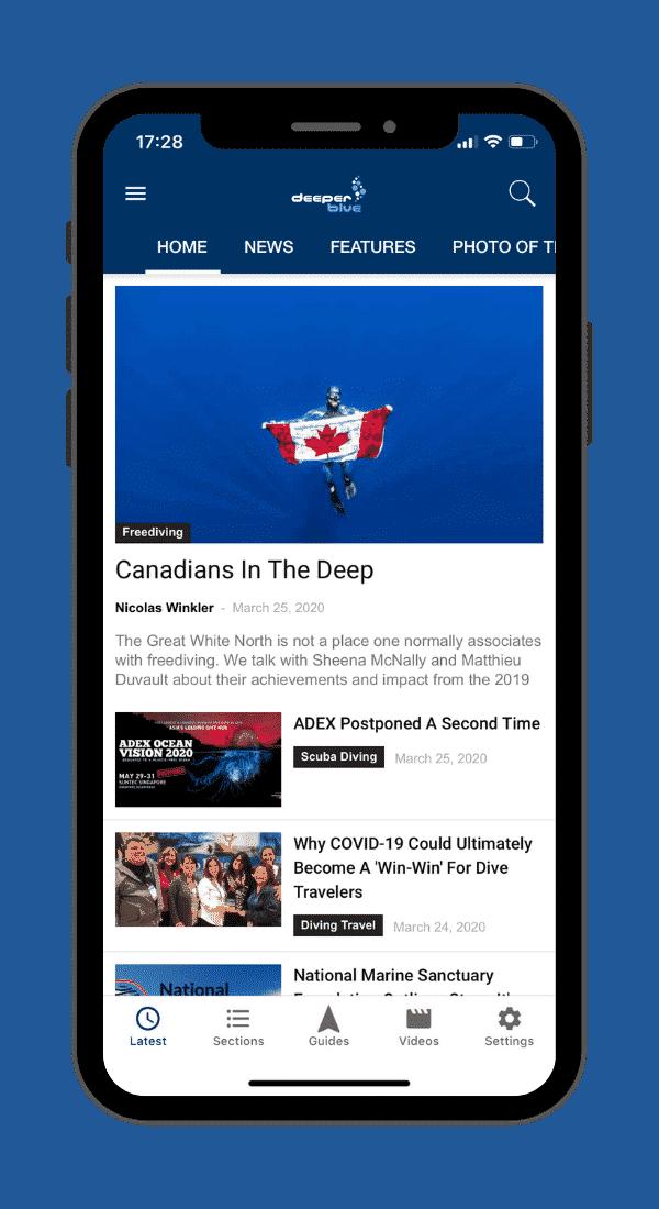 DeeperBlue.com App - Home Screen