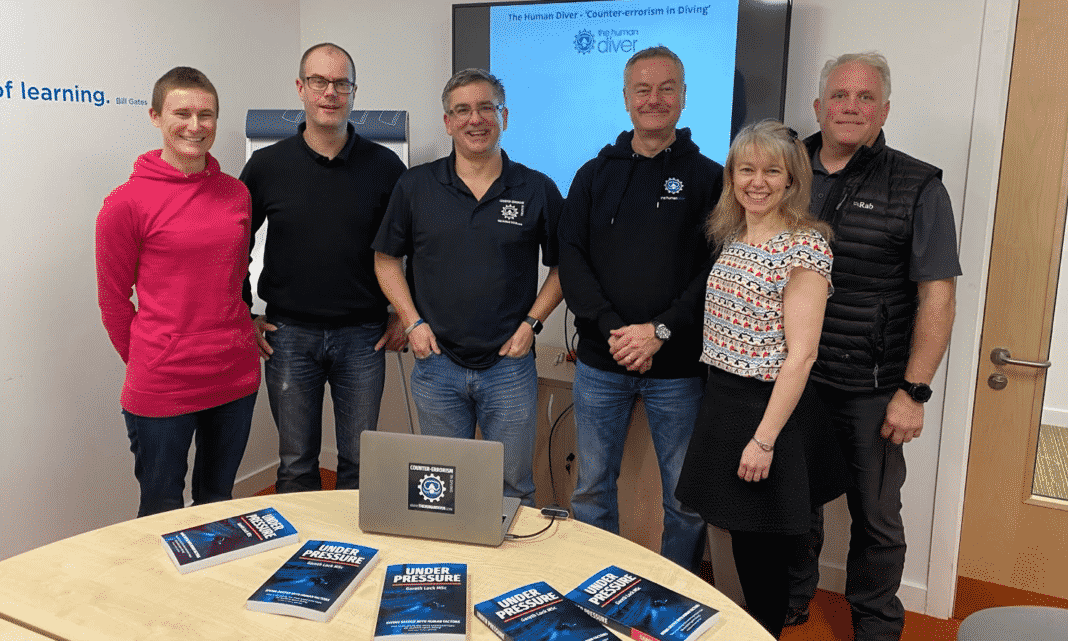 Gareth Lock with his first five global students – who are all diving instructors looking to improve safety underwater.