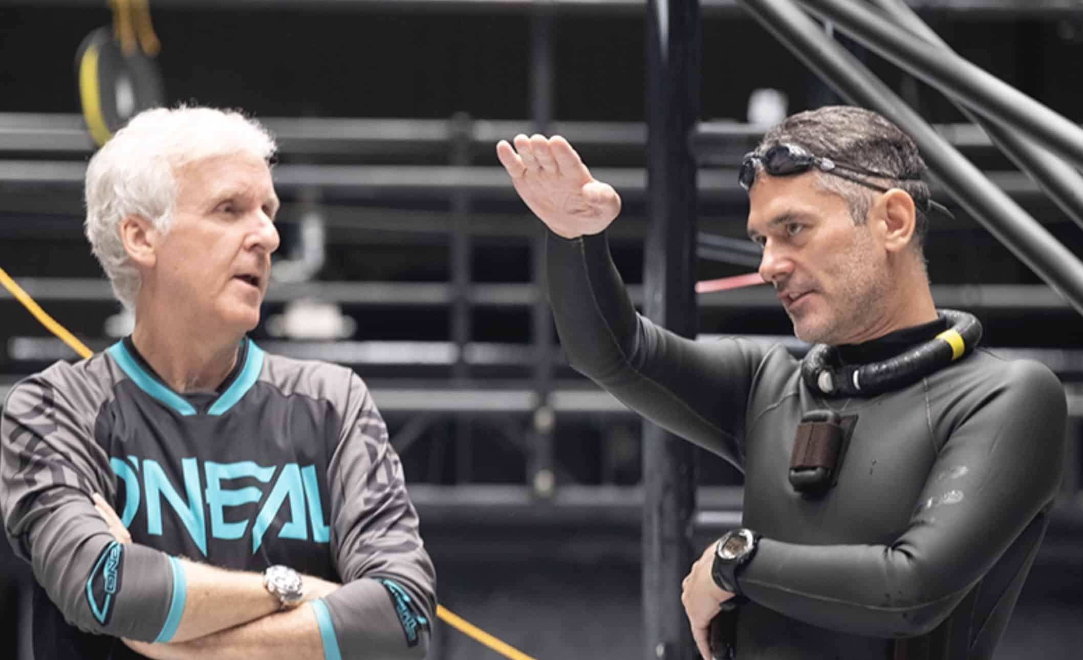 Director James Cameron and Kirk Krack on set during the filming the Avatar sequels.