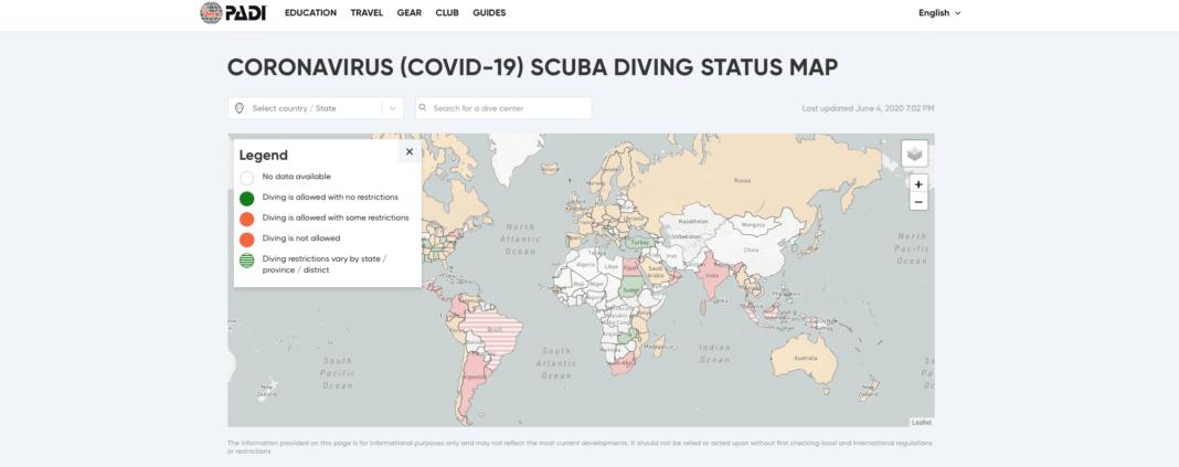 PADI's New COVID-19 Scuba Diving Status Map