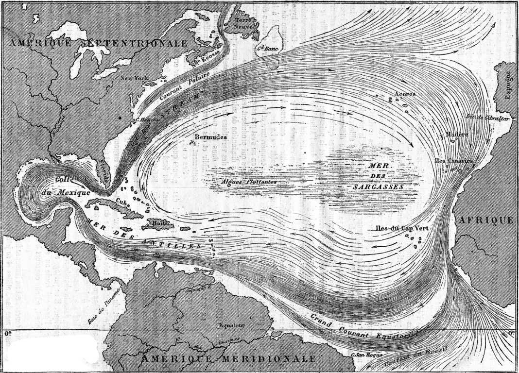 Map of the Gulf Stream, vintage engraving.