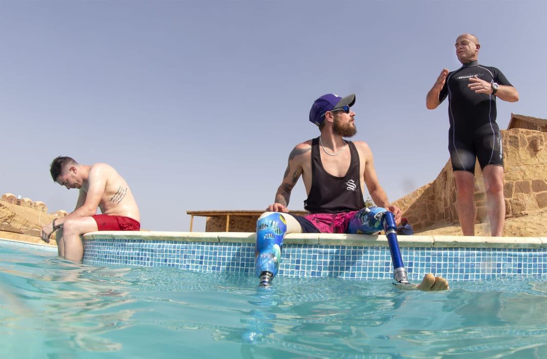 Deptherapy Ambassadors Chris Middleton and Tom Swarbrick with Instructor Andy Frith on a previous expedition to Roots Red Sea. Photo - Dmitry Knyazev for Deptherapy