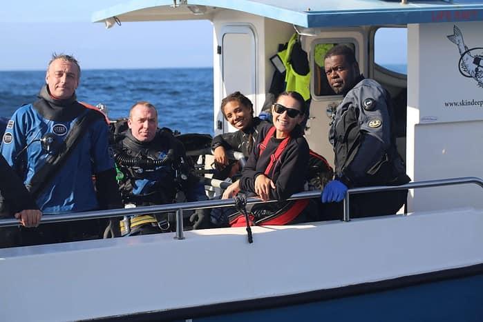 Divers Richard Stevenson, Kieran Hatton, Alannah Vellacott, Kinga Philipps and Kramer Wimberley on the English Channel. ©2020 AP Slave Ships Productions Ltd./Cornelia Street's Ships Ltd.