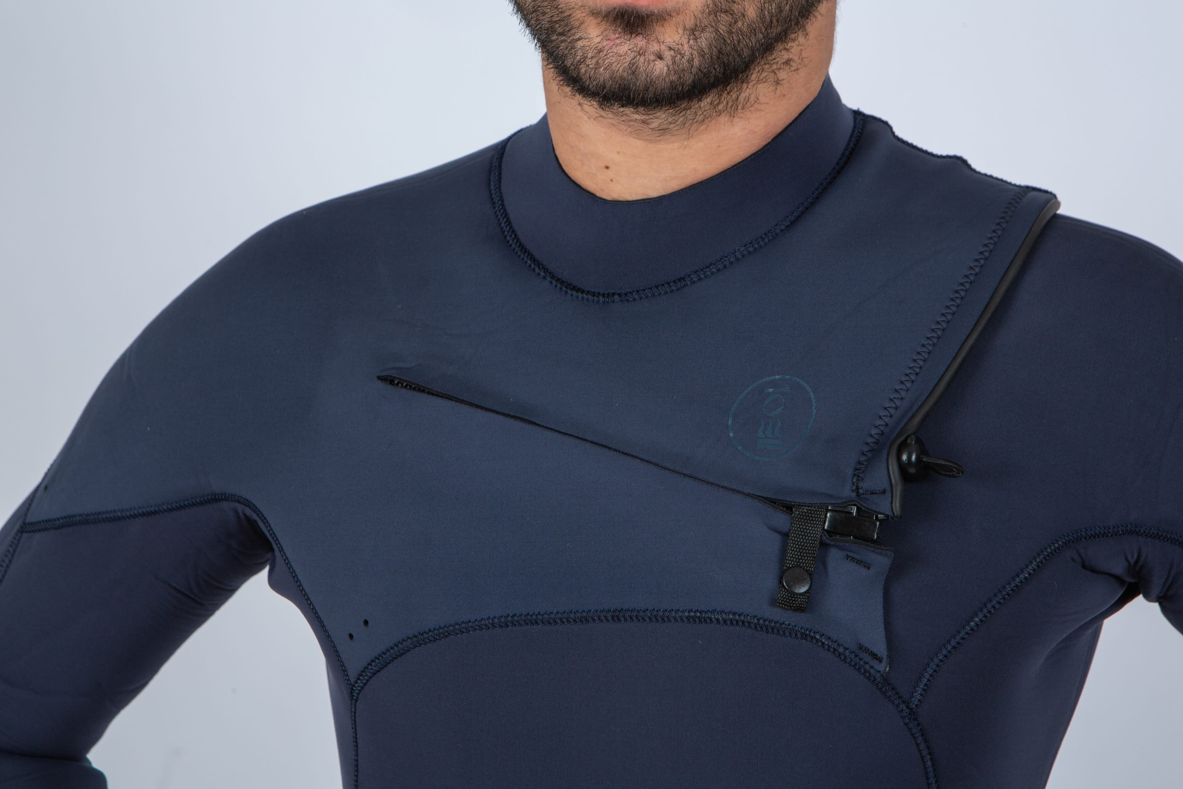 Mini chest zipper on Fourth Element's Surface Wetsuit