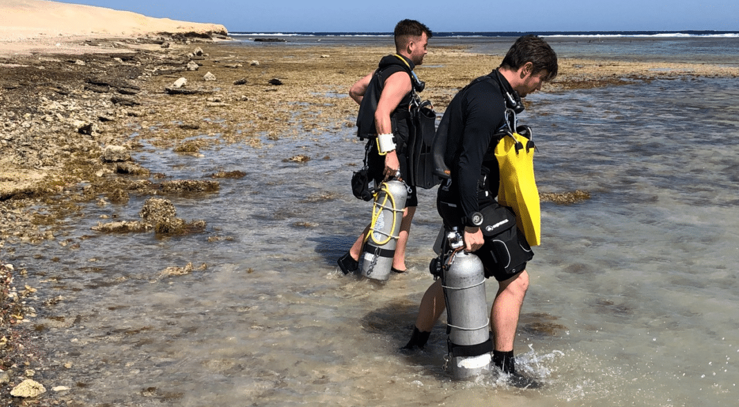 Deptherapy Ambassadors Tom Oates and Tom Swarbrick on their RAID Sidemount course last week at Roots Red Sea.