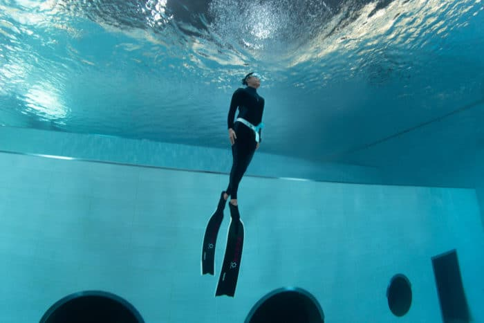 Ascending from depth in the Fourth Element RF1 Freediving Wetsuit