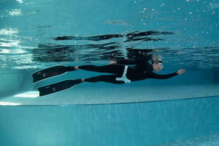 Posing in the Fourth Element RF1 Freediving wetsuit
