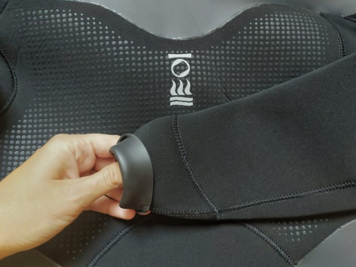 The RF1 Freediving wetsuit's smoothskin seals on the inside of the wrist and ankle cuffs
