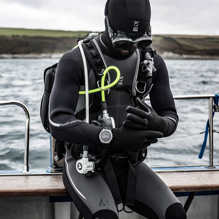 Xenos 7mm provides extreme warmth but is easy to get on and off, made with limestone neoprene. Photo Credit: Fourth Element