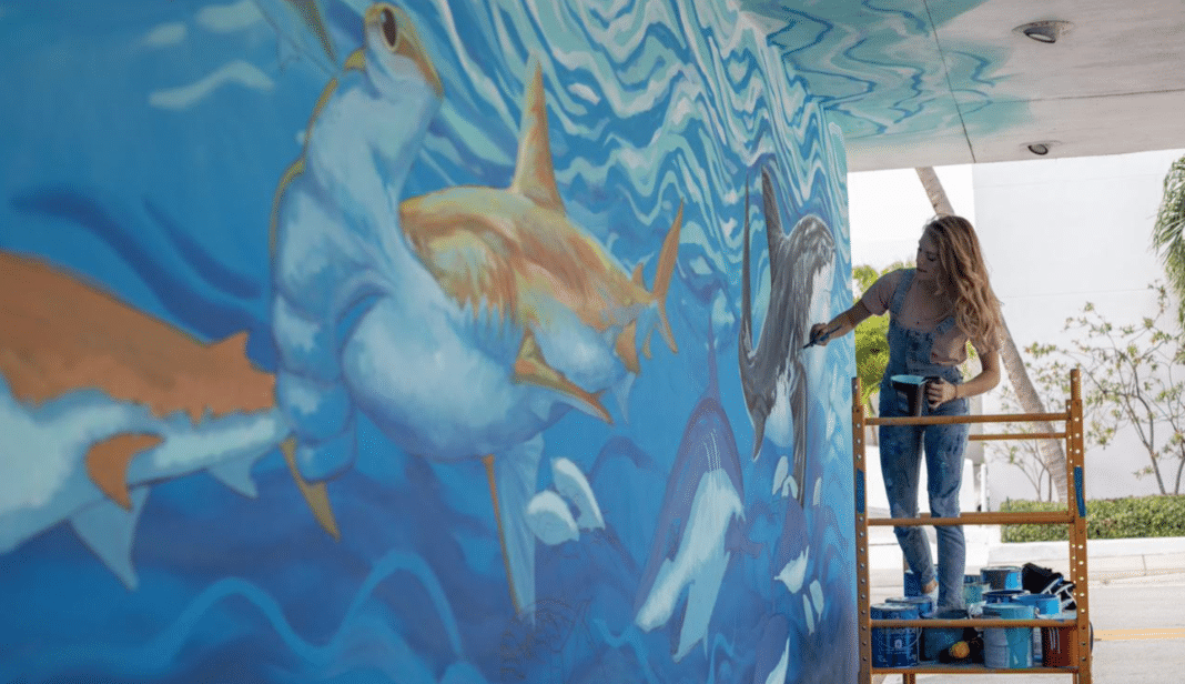 Florida shark fin bill anniversary mural