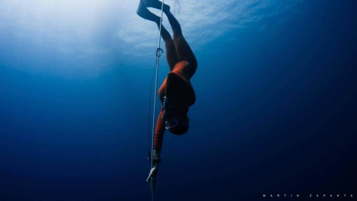Odessa competing at an AIDA freediving competition