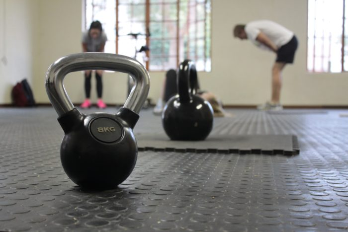 Kettlebells at the gym training freedivers